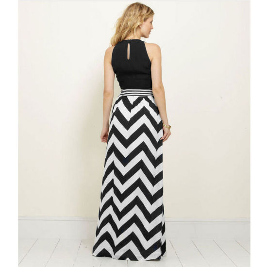 Sexy Women Striped Summer Chiffon Long Maxi Dress Evening Party Dress (6062) pictures & photos