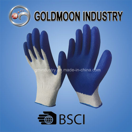 10g White Cotton Liner Blue Latex Coated Smooth Finish Safety Work Glove