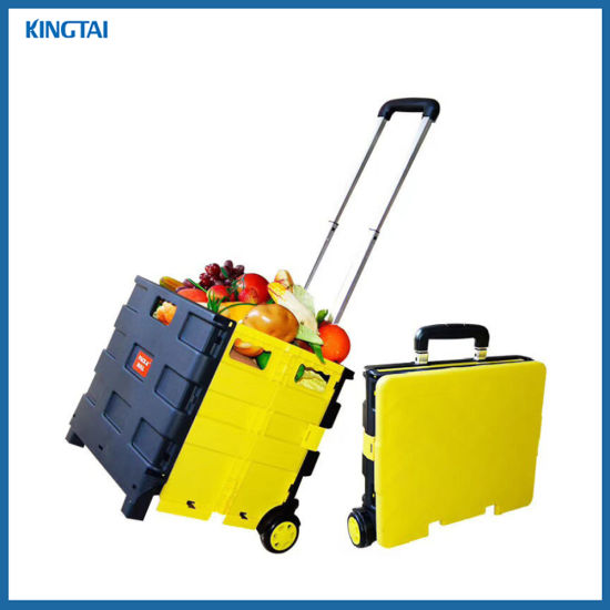 Supermarket Plastic Portable Grocery Trolley/Folding Shopping Trolley/Folding Shopping Cart