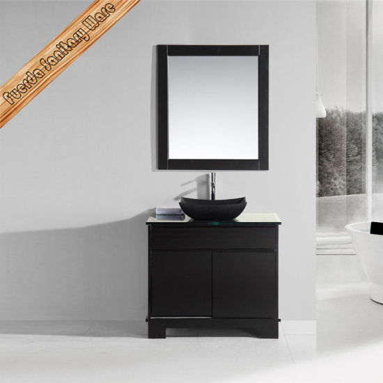 Double Sink Granite Basin Black Color Bathroom Furniture pictures & photos