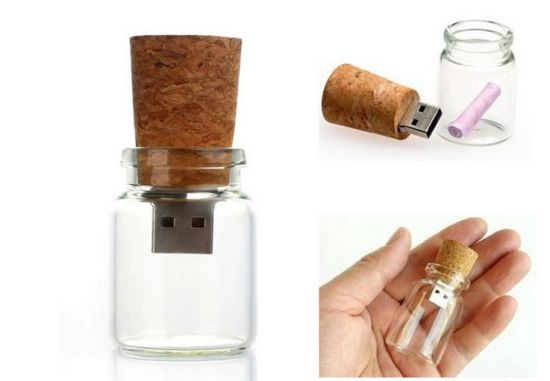 008285282bd 2g Lash Drive - Single Item - USB 2.0 Message in a Bottle Design - Bottle  with Cork Flash Drive