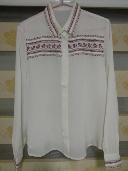Hot Style Ladies 100%Silk Woven Embroidery Long Sleeve Shirts
