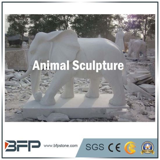 White Granite Animal Statue Elephant Statue For Garden Decoration