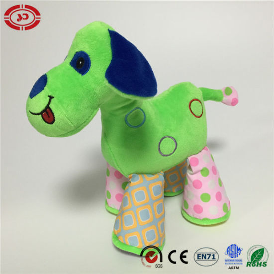 Cute Dog Funny Green Colorful Gift Plush Toy for Kids