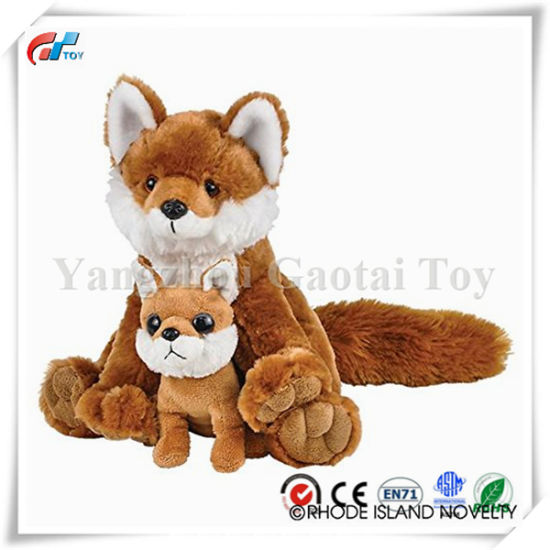 "Birth of Life Red Fox with Baby Plush Toy 11"" H"