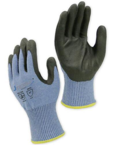 13 Gauge Light Blue ANSI Cut Level A8/ ISO 13997 Cut Level F Work Gloves, with Black Foam Nitrile Coating on Palm
