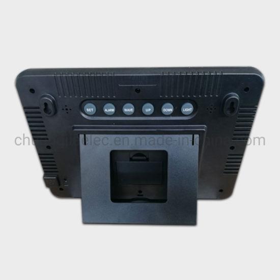 China Wwvb Radio Control Wall Clock with Indoor Outdoor Temperature
