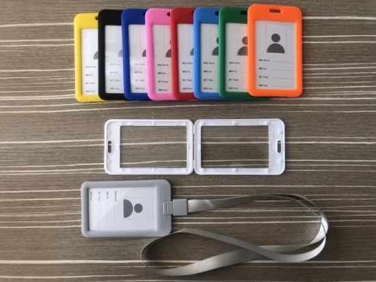 Factory Cheap Wholesale Colorful with Lanyard Hard PP ID Card Badge Holder