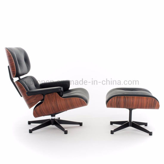 (SP-HC050) Italian Style Luxury Bentwood Recliner Black Leather Lounge Chair Seat Modern with Ottoman