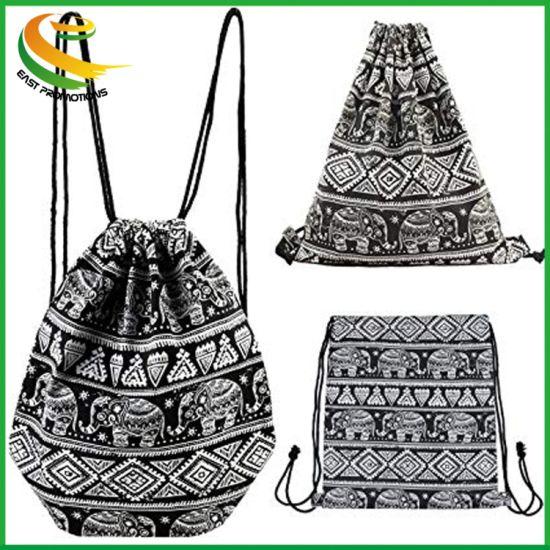 Drawstring Backpack Gym Sack Bag Travel Canvas String Bag for Women/Girls