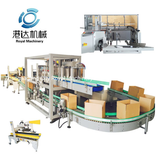 Auto Carton Forming Filling Sealing Packing Line for Bottled Caned Beverage Plant