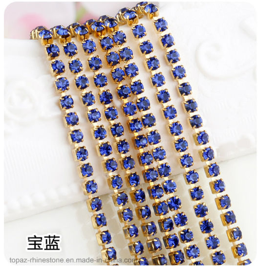 Rhinestone Brass Cup Chain New Items Strass Roll Rhinestone Cup Chain for Garment and Shones Decoration (RC-Sapphire)