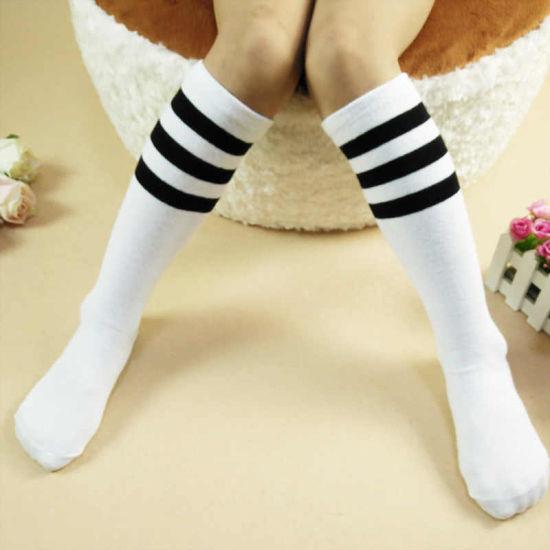 c23e7eeaf Kids Knee High Socks Girls Boys Football Stripes Cotton Sports School White  Socks Skate Children Baby Long Tube Leg Warm