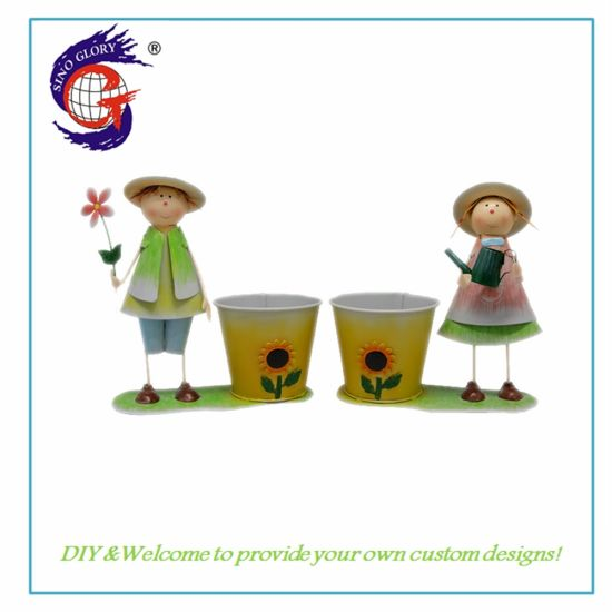 High Quality Metal Boy and Girl Flower Pot for Garden Decoration