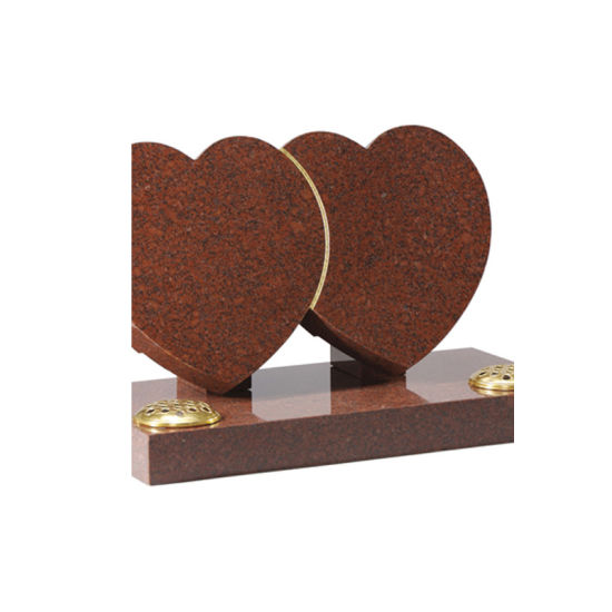 Heart with Carved Roses India Red Granite Headstones