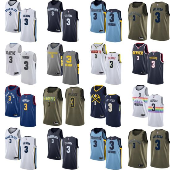 low priced 3df6a 13df0 Wholesale 2019 Allen Iverson Grizzlies Nuggets Putian Replica Basketball  Jerseys