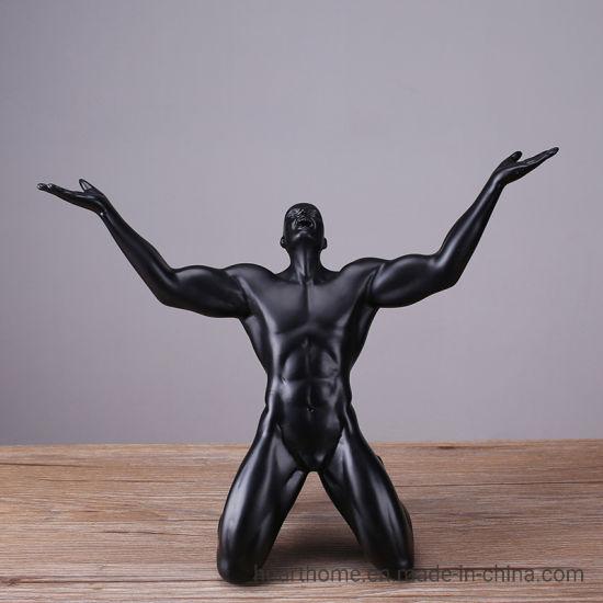 Black Color Resin Champion Statue Arts and Crafts Interior Decoration
