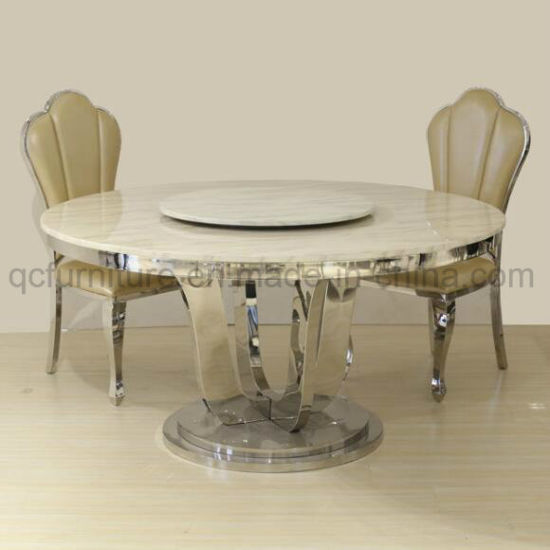China Modern Design Marble Top Rotating Round Dining Table