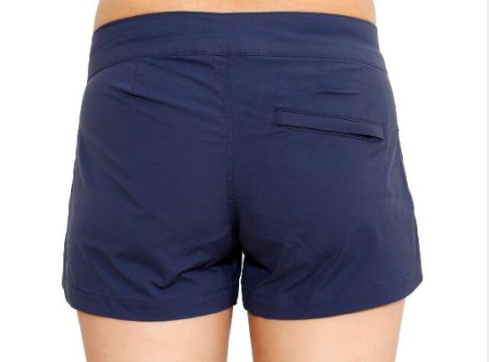 Lady's Navy Polyester Elastic Sports Shorts Wholesale Tight Workout Pants