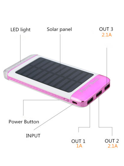 10000mAh 3 USB Port External Battery Solar Power Bank Computer Power Supply pictures & photos