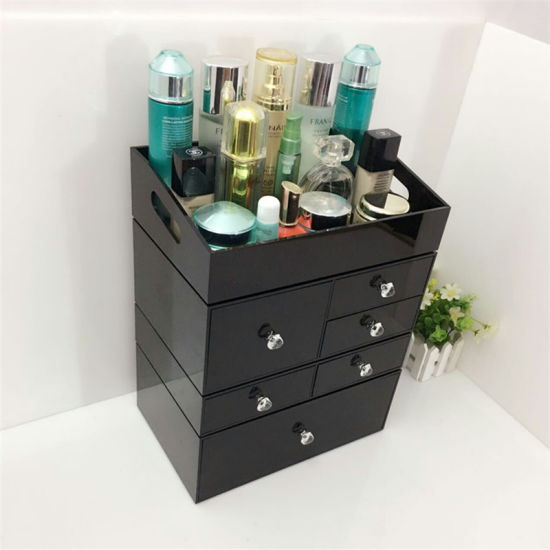 Free Combination Black Acrylic Makeup Organizer with 6 Drawers