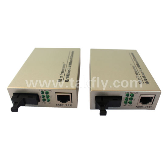 SC Single Fiber 10/100m Fiber Optic Media Converter pictures & photos