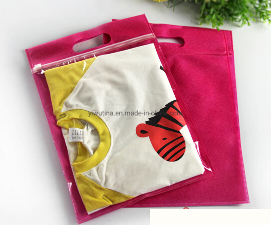 High Quality Hot Pink Non Woven Zipper Handle Bag with Clear Plastic