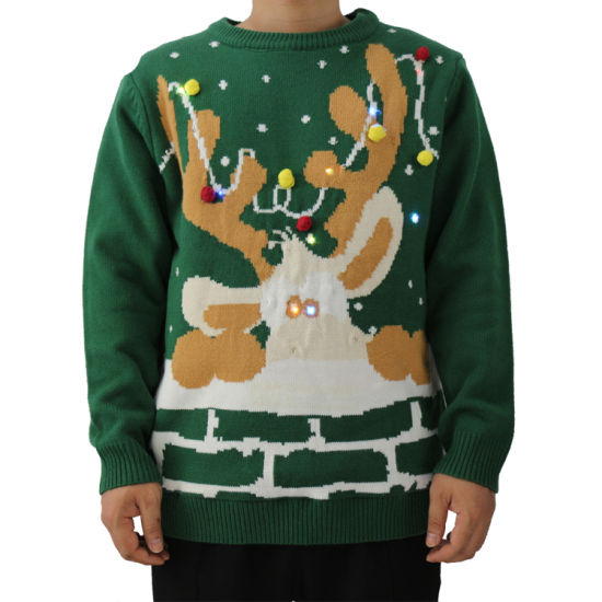 Christmas Sweater 100% Acrylic Ugly Reindeer Christmas Pompom Sweater with LED Light