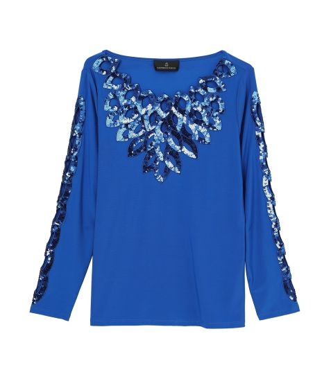 Ladies′ Blue Sequins Embroidered Knit Top pictures & photos