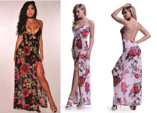 a6479f6735e Summer Women Girl Long Dress Floral Print Slip Dress Sexy Gallus Beach  Chiffon Long Dress Sleeveless Maxi Dress