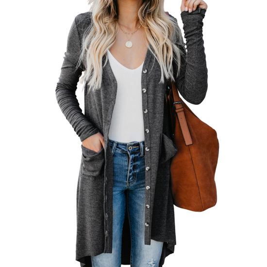 Wholesale Women Gray Selected Button Down Pocketed High Low Cardigan