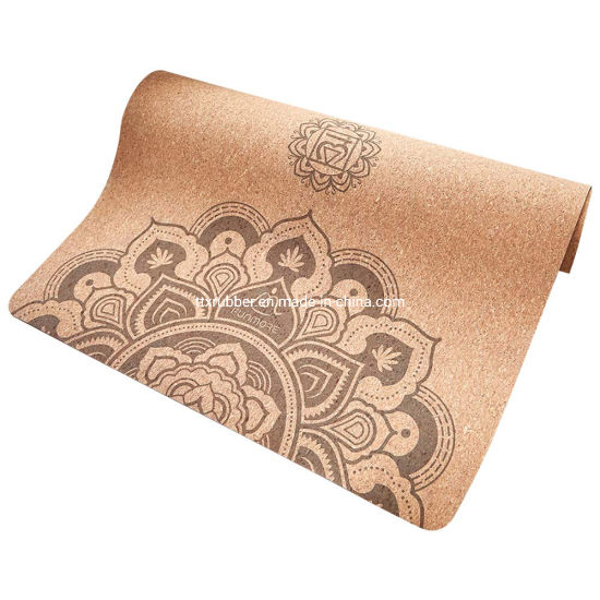 """Natural Rubber Non-Slip Eco-Friendly Non-Toxic, 72"""" X 24"""" X 4 mm Extra Large Wide for Hot Yoga Pilates and Exercise Cork Yoga Mat"""