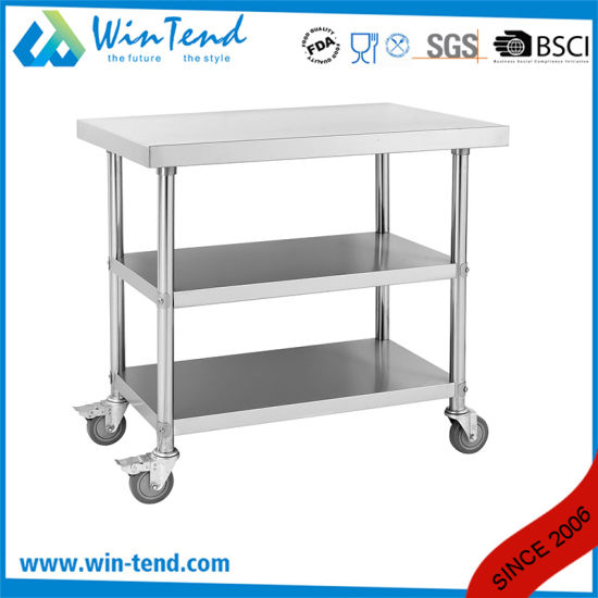 Compeive Price Stainless Steel Heavy Duty Kitchen Work Table With Wheels