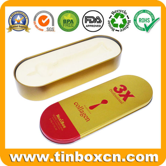 Golden Emboss Oval Tin Box Metal Tin Case with PVC Insert for Pencil Pen Stationery Jewelry Necklace pictures & photos
