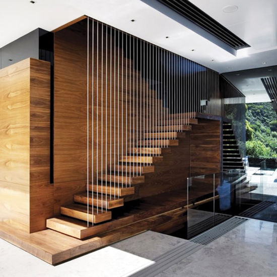 Interior Glass Railing Wood Stair Kit Cantilever Staircase