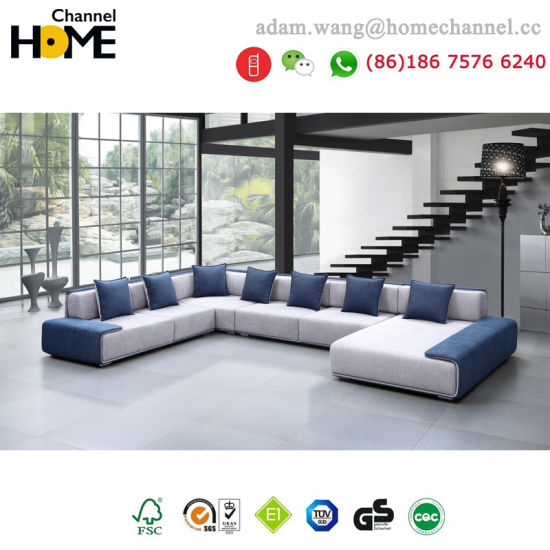 Modern European Design Living Room Furniture Large U Shaped Fabric Sofa  (HC R573)