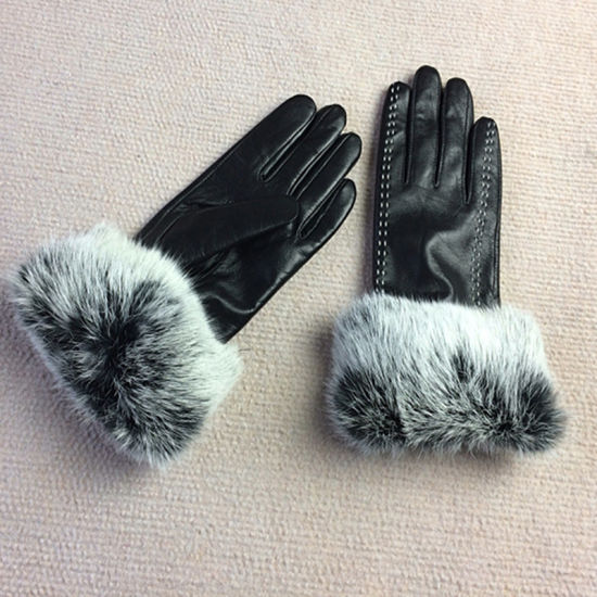 Four Color Womens Winter Touchscreen PU Leather Gloves pictures & photos