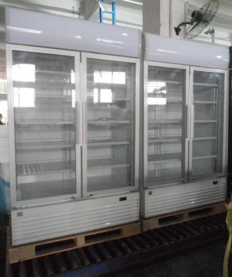 China Double Glass Door Commercial Freezer Display Refrigerator