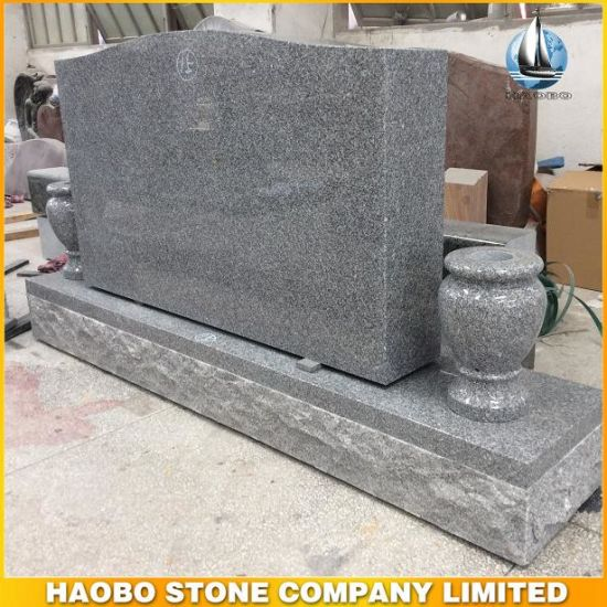 G603 Gray Granite Cheap Upright Headstone with Vase