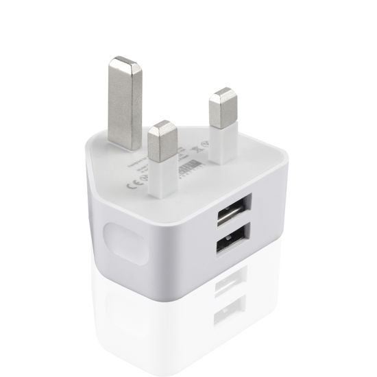 Ce RoHS Approved 5V2a UK Charger Dual USB Wall Charger