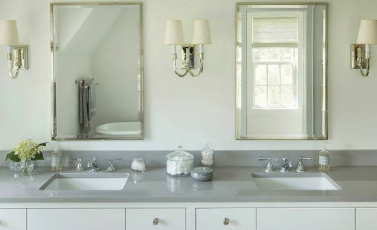 Grey Quartz Stone Bathrooms Vanity For Prefab Homes
