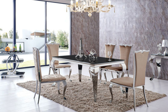 Modern Round Glass Steel Base 4 Chairs Dining Table Set