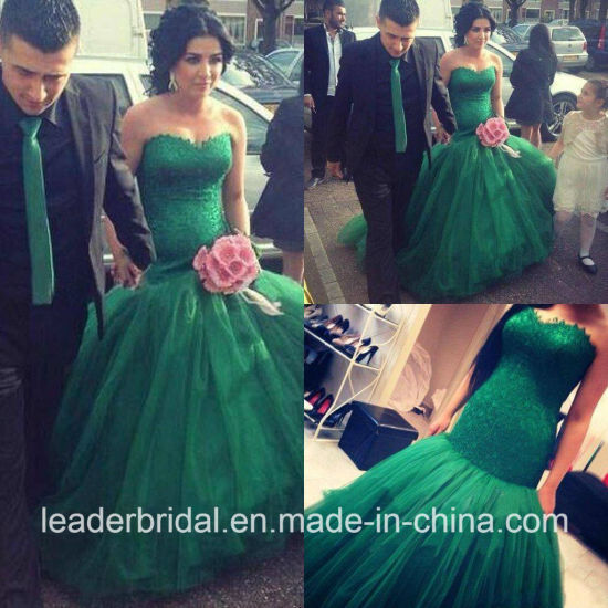 Green Celebrity Dress Sweetheart Lace Tulle Party Prom Dresses P16723