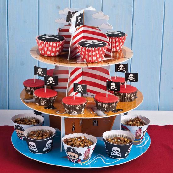 Flag Style Paper Cardboard Cupcake Display Stand Box