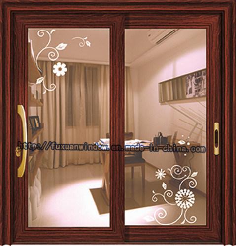 Two Tracks Aluminium Frame Sliding Door For Living Room