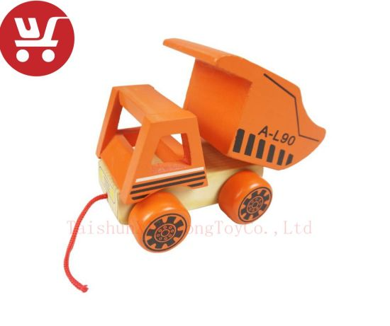 Xl10084 Wooden Forklift Toys Colorful Design Wooden Pulling Toy Car Pretend Play Pull String Wooden Toy Wooden Push Back Car Toy