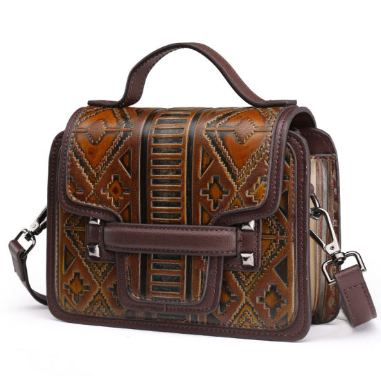 Manufacturer Wholesale Price Good Quality Vintage Brown Leather Hand Bag Women Purse