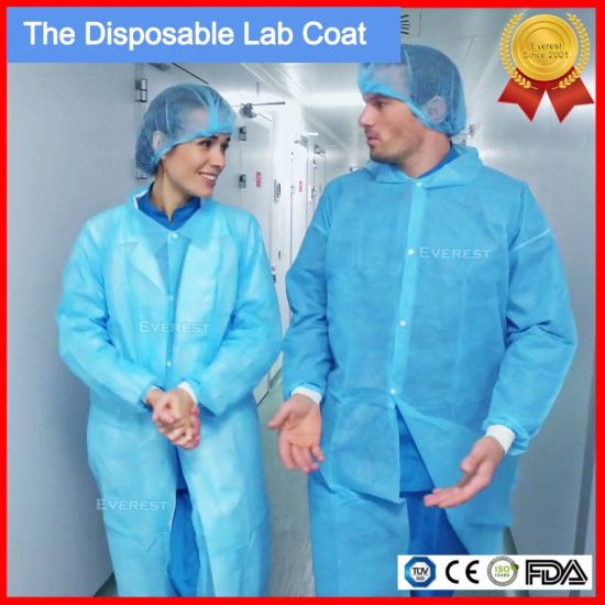 Disposable Nonwoven Lab Coat with Velcro/Collar