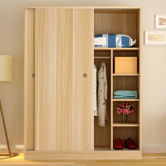 Simple Modern MFC Wooden White Bedroom Wardrobe Design