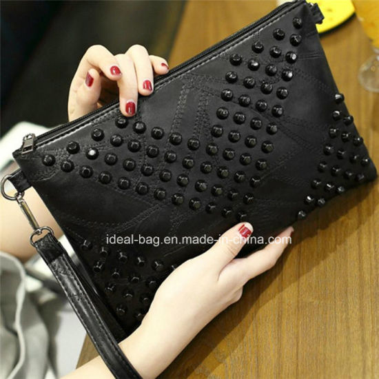 New Fashion Style Lady Zipper Handbag Purse, V Rivet Messenger Shoulder Sling Clutch Bag Wholesale pictures & photos